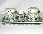 Polish Pottery New Manuf Sig Salt & Pepper Set on SALE