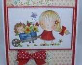 Handmade Card, Greetings, Gift, Valentine, Penny Black Carrying Flowers
