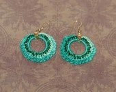 Crochet Earrings Healing Green One-of-Kind