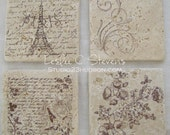 Handcrafted Set of 4 Paris and Floral Marble Coasters