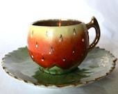 Vintage - tiny Strawberry cup & saucer set  Canada souvenir