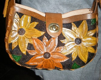 Hand Tooled Leather Handbag With Flower Design