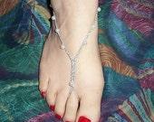 Barefoot Maui Sandals White Pearl Acrylic Beads on Metallic Thread