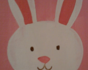 Ready To Ship Bunny Party. Happy Bunny Welcomes Spring, Easter Bunny,  5x7 Canvas Board Original Art Hand Painted, Welcome spring