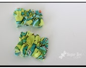 Green Turquoise: Mini Messy Ruffled Clips
