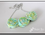 light green and turquoise : Rolled Fabric Flower Necklace