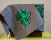 Hand printed Tea Frog tea towel