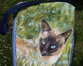 Siamese Cat painted zipper tote bag
