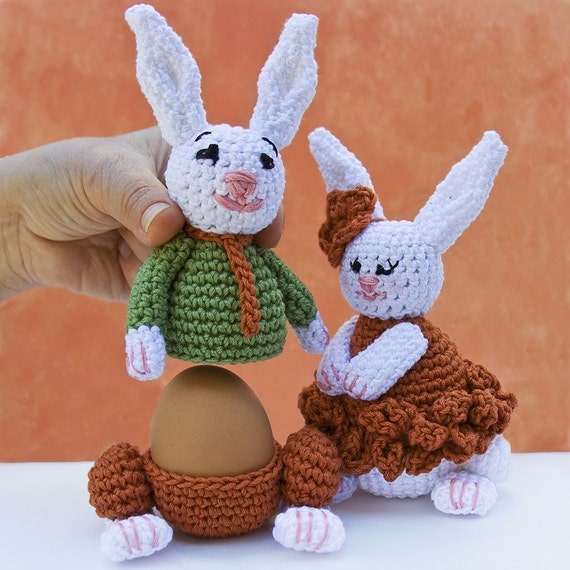 Crochet Egg Holder : Bunnies Egg cozy warmer Crochet PATTERN by LeisureTreasure on Etsy