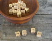 Vintage Wooden Word Cubes 21 Piece Game or Mixed Media Supply