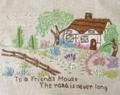 Vintage Stitched Sampler With Cottage and Flowers Road to Friends House...