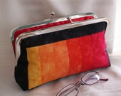 Handmade, hand dyed, patchwork clutch. Black, red, orange, yellow. TOWN AND COUNTRY by Lella Rae on Etsy