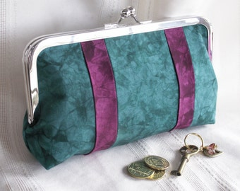 Handmade, hand dyed, patchwork clutch. Teal, magenta. STYLE by Lella Rae on Etsy