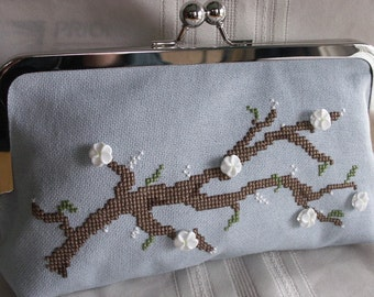 Handmade hand embroidered, beaded clutch handbag. Pale blue, white, brown. APPLE BLOSSOM by Lella Rae on Etsy
