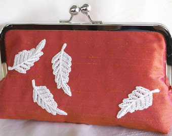 Handmade silk clutch handbag. Orange, pink, white. Venice lace leaves. AUTUMN LEAVES by Lella Rae on Etsy