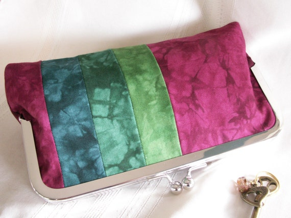 Handmade, hand dyed, patchwork clutch. Magenta, emerald, teal, green. MOLLY by Lella Rae on Etsy