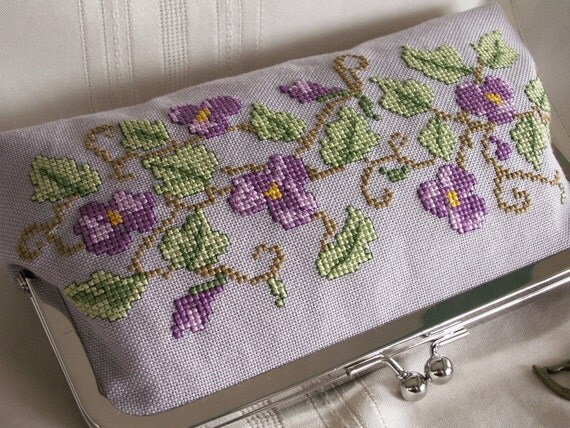 Handmade, hand embroidered clutch handbag. Violet, green. WOOD VIOLETS by Lella Rae on Etsy