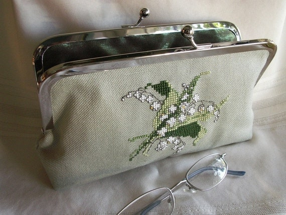 Handmade, hand crosstitched ooak clutch. Green and white. LILY-of-the-VALLEY by Lella Rae on Etsy