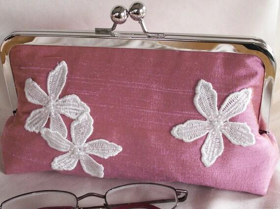Handmade silk, lace clutch handbag. Pink. PINK DOGWOOD by Lella Rae on Etsy
