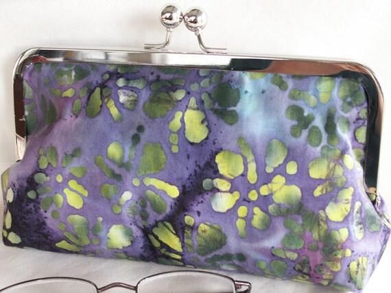 Handmade Indonesian batik cotton clutch handbag. Purple, green, blue, yellow. FESTIVAL by Lella Rae on Etsy