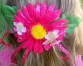 Pink Daisy hair barrette