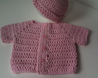 Crochet Baby Pink Sweater Cap Set:  Infant Newborn Sweater and Cap