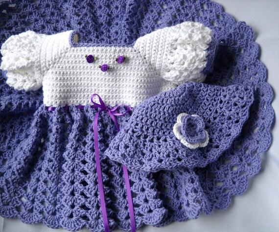 Crochet Baby Dress Hat Purple White cotton