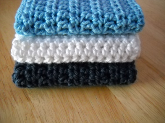 Cotton Wash Cloths, Bath or Kitchen Cloths: Cool soothing blues.