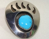 Price Reduced // Navajo BEAR Paw Bolo Slide For a Tie STERLING Silver