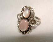 Pink Mother of PEARL Ring NAVAJO and STERLING Silver
