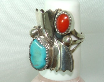 Vintage Coral and Turquoise Ring w/ Fans Navajo Handmade