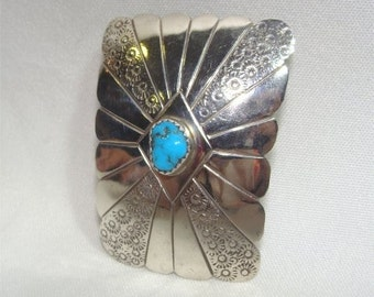 Handmade Sterling NAVAJO Bolo Slide w/ KINGMAN Turquoise