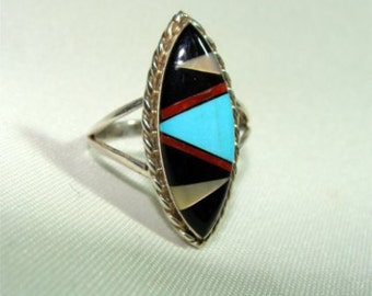 Zuni Indian Inlay RING Size 9 1/2 in STERLING Silver