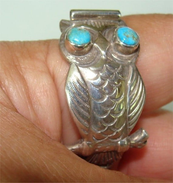 Watch Band VINTAGE NAVAJO Sterling Silver OWL w/ TURQUOISE