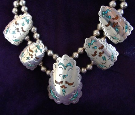 STERLING Silver Navajo HANDMADE Vintage Necklace with TURQUOISE and Coral