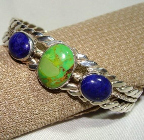 Handmade Bracelet Green GASPEITE and Blue LAPIS Navajo STERLING