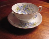 Royal Grafton Bone China Forget Me Not Luncheon Plates and Teacups