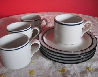 Dansk Christianshavn Blue Bistro Cups with Saucers