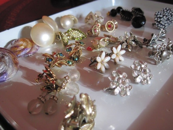 Large Collection of Clip Back and Screw Back Earrings.