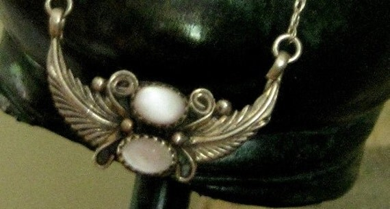 FALL SALE : Vintage Navajo 70's Sterling Silver 925 Winged Necklace
