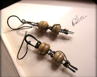 Missing Alice. Dangle Earrings assemblage rustic boho gypsy