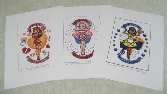"Set of Three ""Bake and Destroy"" prints by Susannah Mosher"
