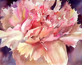"""Carnations II - Floral fine art watercolor painting Giclee print - open edition by SriWatercolors - 9.5 """" x 7"""""""