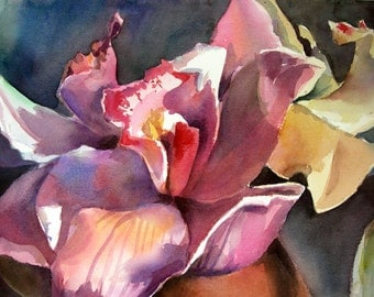 Orchid - Floral Watercolor ORIGINAL painting by SriWatercolors - 22 x 30 in