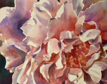 Peony- Floral Watercolor ORIGINAL painting by SriWatercolors - 22 x 30 in