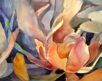 Sunset Protea II -  Floral Watercolor ORIGINAL painting by SriWatercolors - 22 x 30 in