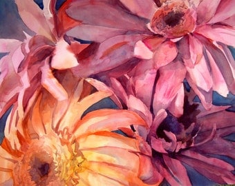Daisy Dreams II - Floral Watercolor ORIGINAL painting by SriWatercolors - 29 x 39 in