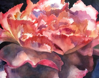 Carnations III - floral fine art watercolor painting Giclee Print - open edition by SriWatercolors - 11 x 17.5 in