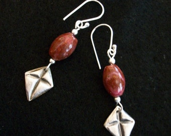 Triangle Silver Cross Earrings