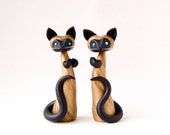Siamese Cat Art Pair by Bonjour Poupette